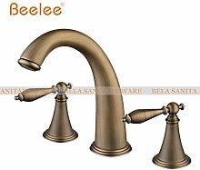 Tourmeler Deck montiert drei Bohrungen Double Handles verbreitete Waschbecken Wasserhahn, Whirlpool Wasserhahn Metall Türdrücker, Bl3005 ein