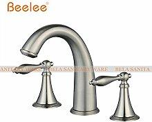 Tourmeler Deck montiert drei Bohrungen Double Handles verbreitete Waschbecken Wasserhahn, Whirlpool Wasserhahn Metall Türdrücker, BL3005N