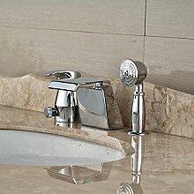 Tourmeler Deck montiert Messing verchromt Wasserfall Auswurfkrümmer Bad Badewanne Armatur mit Hand Spraye