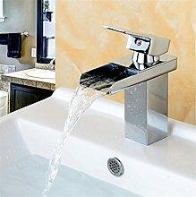Tourmeler Deck Mount Wasserfall Bad Armatur, Waschtisch Waschbecken Mischbatterie Gefäß mit kaltem und heißem Wasser, Verchrom
