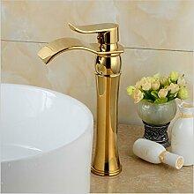 Tourmeler Design Wasserfall Bad goldenen Wasserhahn einzigen Griff Waschbecken Mischbatterie B-1002M, Chrom, Gelb