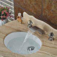 Tourmeler Die neu angekommenen Bad Toilette Waschtisch Armatur Armatur Wasserfall Breite mit zwei Griffen, gebürste