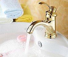 Tourmeler Gold Farbe Messing einzigen Griff Badezimmer Waschbecken Mischbatterie/Schiff Waschbecken Wasserhahn Wgf 008, Messing, Gelb