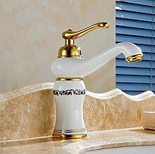 Tourmeler Gold Finish Bad Armatur Bad Waschbecken Mischbatterie mit heißem und kaltem Wasser H-651