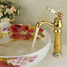 Tourmeler Golden Bad Armatur Einzelne weiße Keramik Griff Armaturen für den Waschtisch Waschbecken Armaturen Torneira Banheiro, Chrom, Gelb