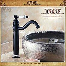 Tourmeler Groß Schwarz Bronze Bad Armatur Schwarz lackiert mit Keramik lange Mund Waschbecken Mischbatterie B-020