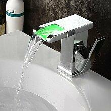 Tourmeler Grün/Rot/Blau 3 Farbe Licht ändern durch Wasserkraft Waschbecken Armatur chrom poliert Wasserfall Badewanne Waschbecken Wasserhahn Wasserhahn M199