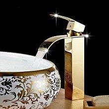 Tourmeler Hoher Wasserfall Wasserhahn warmes und kaltes Gerät Wasserhahn poliert Golden/Chrom Badezimmer Waschbecken Mischbatterie Wasserfall tippen, Gelb