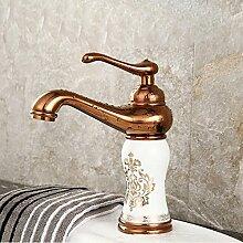Tourmeler Keramik Gold Basin Hahn und Keramik Rose Golden Badezimmer Mischbatterie aus Messing Gold Kitchen Sink Faucet, Gelb