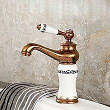 Tourmeler Keramik Gold Basin Hahn und Keramik Rose Golden Badezimmer Mischbatterie aus Messing Gold Kitchen Sink Faucet, Weiß