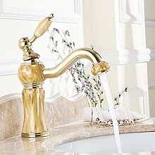 Tourmeler Luxury Style Gold Orange Jade Malerei aus massivem Messing Badezimmer Waschbecken Wasserhahn Mischbatterie, Kran Waschtisch Armatur Wasserhahn