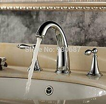 Tourmeler Luxus Chrom poliert Badezimmer 3 pcs Vessel Sink Faucet Dual Griff Mischbatterie