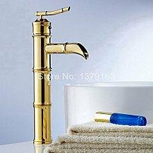 Tourmeler Luxus Gold Farbe Chrom poliert Messing Bambus Stil einzigen Griff Bad Schiff Waschbecken Waschbecken Armatur Küchenarmatur Agf 048, Chrom, Gelb