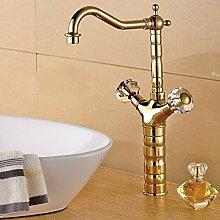 Tourmeler Luxus Messing Waschbecken Wasserhahn, heißes und kaltes Wasser Mixer, Farbe Gold Waschbecken tippen, L 15033, Messing, Gelb