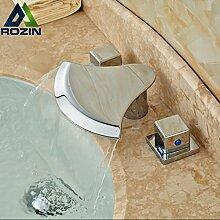 Tourmeler Messing Deck Mount Wasserfall Waschbecken Wasserhahn Bad 3 Löcher Sanitär Waschbecken Mischbatterie Chrom