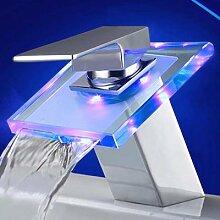 Tourmeler Messing Waschbecken Wasserhahn, Heiss & kalt Led-Mixer, Chrom LED-Beleuchtung tippen, X8332 B1, Chrom, Hellgrau Led