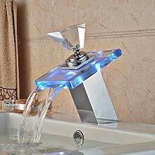 Tourmeler Modisches Design Wasserfall Wasserhahn Waschbecken Armaturen LED-Farbe ändern Chrom polier