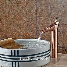 Tourmeler Neu euro Stil Badezimmer Waschbecken Wasserhahn Mischbatterie Rot Kupfer Wasserfall Waschbecken Wasserhahn Einloch Deck montier