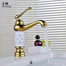 Tourmeler Neue Luxurychrome Badezimmer Waschbecken Gold Archaize Wasserhahn, Messing mit Diamond/Crystal Körper Tippen einzigen Griff Warmes und kaltes Tippen