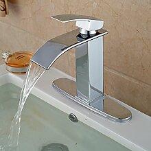 Tourmeler Neue Messing quadratisch Bain Waschbecken Armatur chrom Deck Mount mit Loch Abdeckung