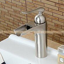 Tourmeler Neue Wasserfall Bad Waschtisch Armatur Mischbatterie mit kaltem und heißem Wasser, Messing verchromt Lh -16934, Pinsel Nickel
