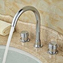 Tourmeler Neue Werbeaktion eingelassenem Waschbecken Armatur für Bad zwei Haltern drei Bohrungen Chrom, glänzend