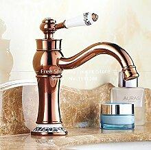 Tourmeler Neuen Hahn Bad Armatur Rose Gold Finish Messing Waschbecken Wasserhahn einzigen Griff mit Keramik Armaturen Hj -5298