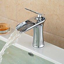 Tourmeler Poliertes Chrom Waschtisch Design Waschbecken Wasserhahn Armatur Wasserfall mit warmen und kaltem Wasser Armaturen für Waschbecken der Badezimmer
