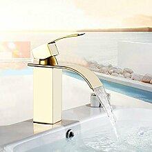 Tourmeler Präzision Kupfer Gold Armaturen Badezimmer Waschbecken breiter Mund Wasserfall Wasserhahn Torneiras Badezimmer Mixer, Messing, Gelb