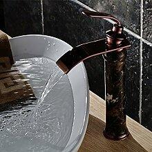 Tourmeler Schwarz Rot goldenen Wasserfall Wasserhahn Keramik Bad Armatur Waschtisch Armatur Waschtisch Armatur Waschbecken Schwarz Wasserfall tippen Sie auf Bad Armatur