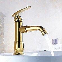 Tourmeler Silber/Gold Mode Bad Wasser Mixer Hahn Hahn Waschbecken mit warmen und kalten Mixer 9017, Gold