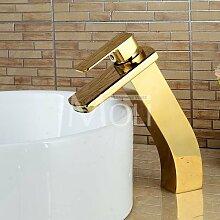 Tourmeler Soild Kupfer Chrom groß Bad Wasserhahn Golden verbreitete Auswurfkrümmer Schiff Waschbecken Tippen Wasserfall Waschtischmischer Torneira, Gelb