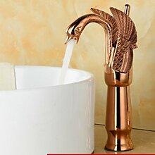 Tourmeler Uns Deck montiert Hoch Swan Waschbecken Wasserhahn einzigen Griff Loch Mischbatterie Keramik Ventil, Gelb