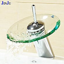 Tourmeler Waschtisch Armatur Wasserfall Glas Mixer Badezimmer mit heißem und kaltem Wasser einzigen Griff Waschen Waschbecken Chrom poliert mit Hahn Tippen