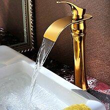 Tourmeler Wasserfall Waschbecken Mixer Badezimmer Leitungswasser Waschbecken Wasserhahn antiken Mixer Wasserhahn Wasserfall Messing Goldensd-H-003C, gelb Tippen
