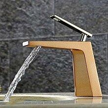 Tourmeler Wasserfall Waschtisch Armatur aus reinem Kupfer tippen Sie auf einzelne Bohrung Waschbecken Armaturen Deck montiert Torneira Banheiro IFC 006, Braun