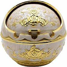 TOWOMO Aschenbecher für draußen, Windaschenbecher mit Deckel (goldene Rose Muster, ØxH=9,5x9cm, golden und weiß Farben)