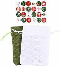 TOYANDONA 24Pcs Weihnachten Advent Kalender Tasche
