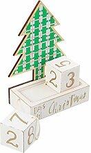 TOYANDONA Holzblock Adventskalender Weihnachtsbaum