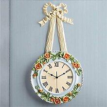 TOYM- Europäische Garten Schlafzimmer Wohnzimmer Uhr Rose Bouquet Resin Mute Große Wanduhr