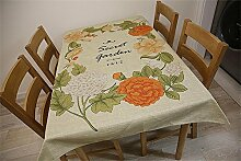 TOYM- Europäische Tischdecke Chinesische Garten Blumen Runde Tisch Tischdecken Baumwoll Leinen Tee Tischdecke Tischdecke ( größe : 140*200CM )
