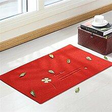 TOYM- Haustürmatten Fußmatte nach Hause Schlafzimmer Küche Halle Badematte rutschfeste Badematten nach Hause ( farbe : Rot , größe : 40*60cm )