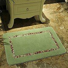 TOYM- Hirtenhaupttürmatten Fußmatte Flur Küche Badezimmer-saugfähige Matte Badematte Teppich ( farbe : Grün , größe : 50cm*80cm )