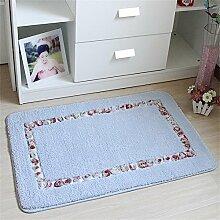 TOYM- Hirtenhaupttürmatten Fußmatte Flur Küche Badezimmer-saugfähige Matte Badematte Teppich ( farbe : Blau , größe : 50cm*80cm )