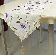 TOYM- Im europäischen Stil Garten-Blume gestickte Leinentischdecke Flagge, Flagge Kaffeetisch, TV Schrank Flagge ( größe : 40*246cm )
