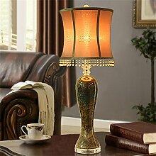 TOYM- Im europäischen Stil Wohnzimmer dekoriert Keramik Tischlampe Schlafzimmer Nachttischlampe modernen minimalistischen amerikanischen Vintage-Lampe