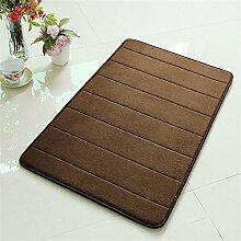 TOYM- Memory-Schaum-Badematte absorbierenden Matten Küche Matten Fußmatte rutschfeste Streifen Toilettentürmatte (50cm* 80cm) ( farbe : Braun )