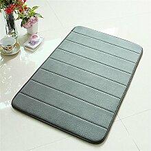 TOYM- Memory-Schaum-Badematte absorbierenden Matten Küche Matten Fußmatte rutschfeste Streifen Toilettentürmatte (50cm* 80cm) ( farbe : Gray )