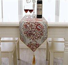 TOYM- Mode Tabelle Flag Europäische Tischdecke moderne einfache Garten Stickerei Chinese Coffee Table Cloth Bed Fahnentuch (Rote Blume) ( größe : 28cm*250cm )