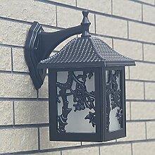 TOYM UK Chinesische klassische Outdoor-Villa Gartentür Outdoor-Pavillon Außen-Terrasse wasserdicht Pflaume Wandleuchte ( Farbe : Schwarz )